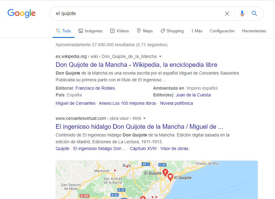 Resultado de búsqueda no semántico